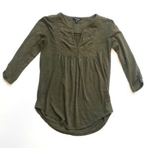 Lucky Brand • olive 3/4 sleeve shirt